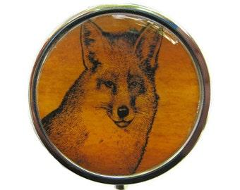 Fox Pill Box Stash Case Silver Medicine Case