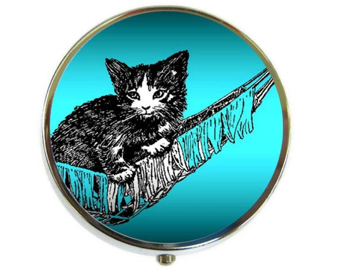 Kitten in Hammock Pill Box Stash Case Silver
