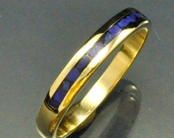 14k Yellow Gold Mosaic Inlay Lapis Stackable Band