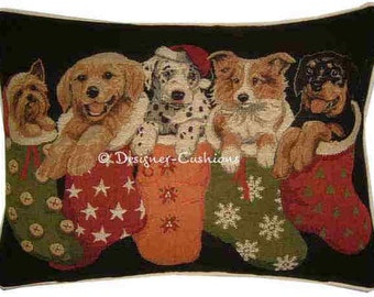 SALE Christmas Puppies in Stockings Oblong Tapestry Cushion Pillow Cover