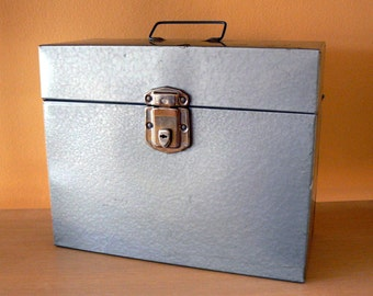 Vintage Office Excelsior Industrial File Storage Box Silver with Handle