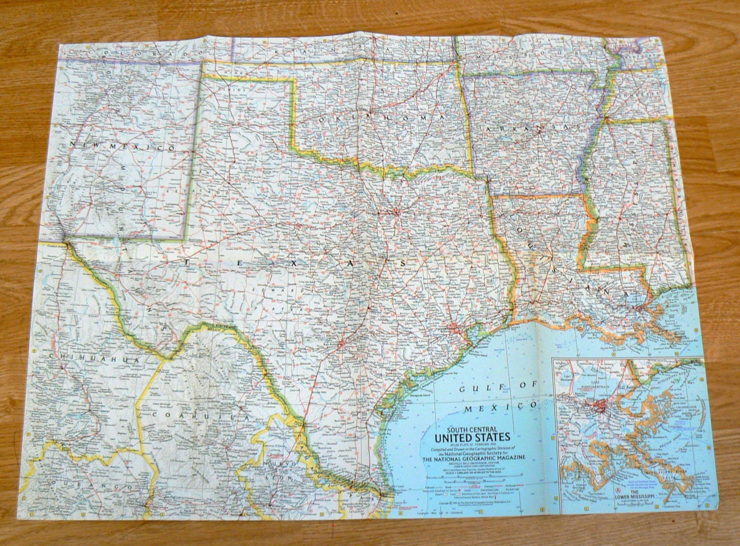 Vintage MAP South Central United States National Geographic - Map of south central us
