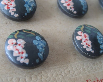 Set of 4 VINTAGE Hand Painted French Flower Painted BUTTONS