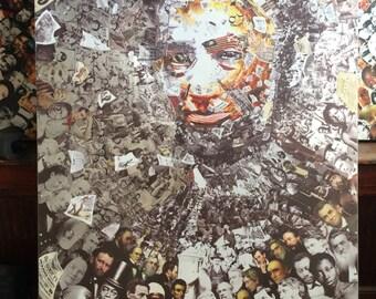"Title: ""Rendering Myself Worthy"" Abraham Abe Lincoln, Huge 4x6 Mixed media on Aluminum Metal, Civil War, Slavery"