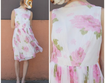 Vintage 50s Spring Sleeveless White Chiffon Party Dress with Pink Floral Motif by Ricci Originals | Medium