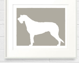 Irish Wolfhound Dog Silhouette Fine Art Print - 8x10 Your Choice of Color