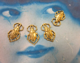 Natural Raw Brass Scarab Beetle Charms 387RAW x4