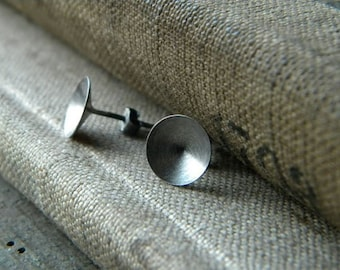 1cm Sterling silver stud,oxidized silver post earrings