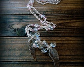 Angel Wings, Western Cowgirl Southwestern Boho Angel Wing Crystal Cluster Charm Necklace