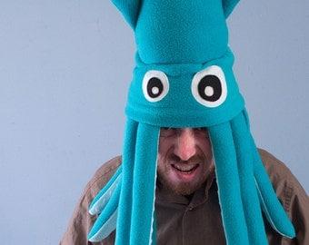 Fleece Squid Hat - Large Turquoise Plush