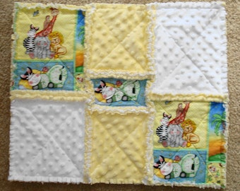 Baby Security Blanket Bozooples Animals This Rag Quilt Is Ready To Ship