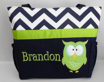 Navy CHEVRON   .... Appliqued OWL  Diaper Bag  ...  Personalized FREE