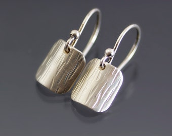 Curved Textured Silver Earrings - Sterling Silver Dangles