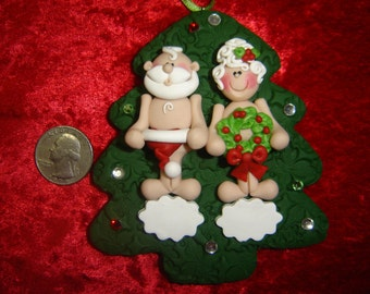 Family of 2 - Couple Handmade PERSONALIZED Polymer Clay NAUGHTY Santa Clause & Mrs Clause Christmas Ornament - Moosellanesous By Rebecca