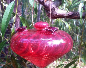 Red Swirl Hummingbird Feeder