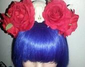 Rose Crown, flower crown, Skull, Skull crown, Red rose crown, Floral crown, Geek, Comic, Comic con, Cosplay