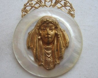 Vintage Brass Gypsy Woman BOHO Antique Gold Pendant