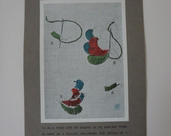 Antique Edwardian Embroidery Instruction Card Print #10 Buttonhole or Blanket Stitch - EnglishPreserves