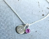 Sterling Tiny Initial Birthstone Necklace, Silver Gemstone Letter Necklace, New Mom Necklace