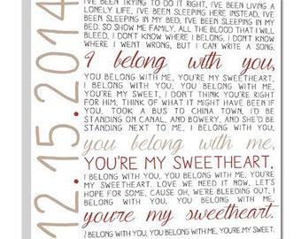 Custom Wedding Song Lyrics,  Canvas Art, Rustic Vintage Style Typography Art, Name and Wedding Date
