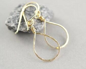 Hoop Earrrings, Gold Dangle Earrings, Gold Teardrop Earrings, Bridesmaid Gift