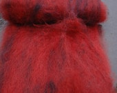Red, Hand Carded Hand Dyed Pure Wensleydale Fiber Art Batt  Blood Stone No 2