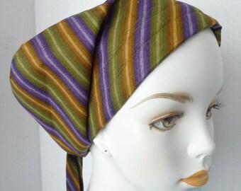 Purple Striped Cancer Hat Chemo Scarf Cap Head Wrap Alopecia Hair Loss Turban