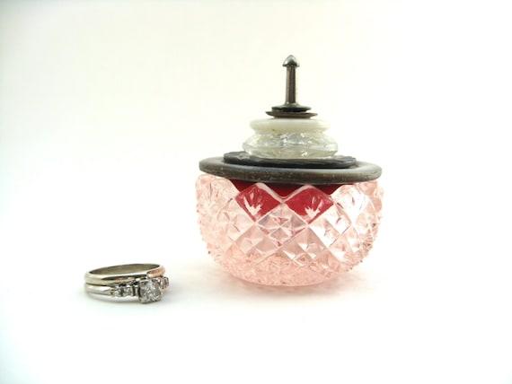 Pink Glass Salt Cellar Ring Box