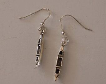Sterling Silver 3D CANOE Earrings -- Watersports, River, Lake