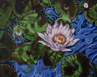 An original painting of a water lily in a pond