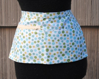Vendor Apron Server Apron Cash Apron Travel Apron Polka Dots Cream Aqua Green Gold Heavy Weight