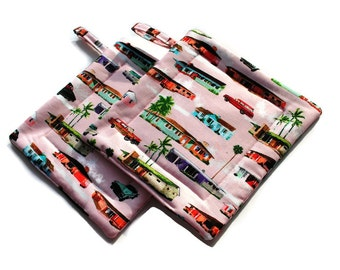 Handmade Quilted Pot Holders Set of 2 Pink Midcentury Modern Houses Cars