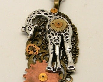 Steampunk jewelry. Steampunk giraffe pendant.necklace..