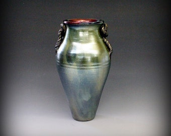 Emerald Copper Raku Vase
