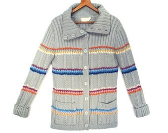70's vintage STRIPED  cardigan / gray multicolor cardigan // chunky knit sweater // S