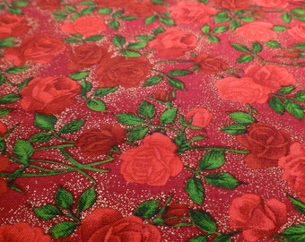 Roses - Destash Fabric -  Cotton - Red and Gold