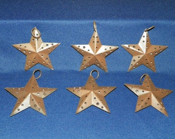 Set of 6, 3D Rusted Metal Star with Star cutouts, 3 5/8 Inches