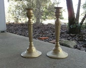 Vintage Brass Candle Holders Lighting Rustic Wedding Decor Table Settings 2 Candlesticks French Country Farmhouse Prairie Cottage
