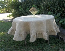 READY to SHIP Round Burlap Tablecloth Ruffled Tablecloth Wedding Table Settings French Country Farmhouse Ruffled Burlap Table Decor