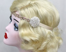 Champagne Headband, Bridal Headpiece, 1920s Wedding, Beaded Headband, Flapper Headband, Prom Hair Accessory, Crystal Headpiece, Glam Bridal