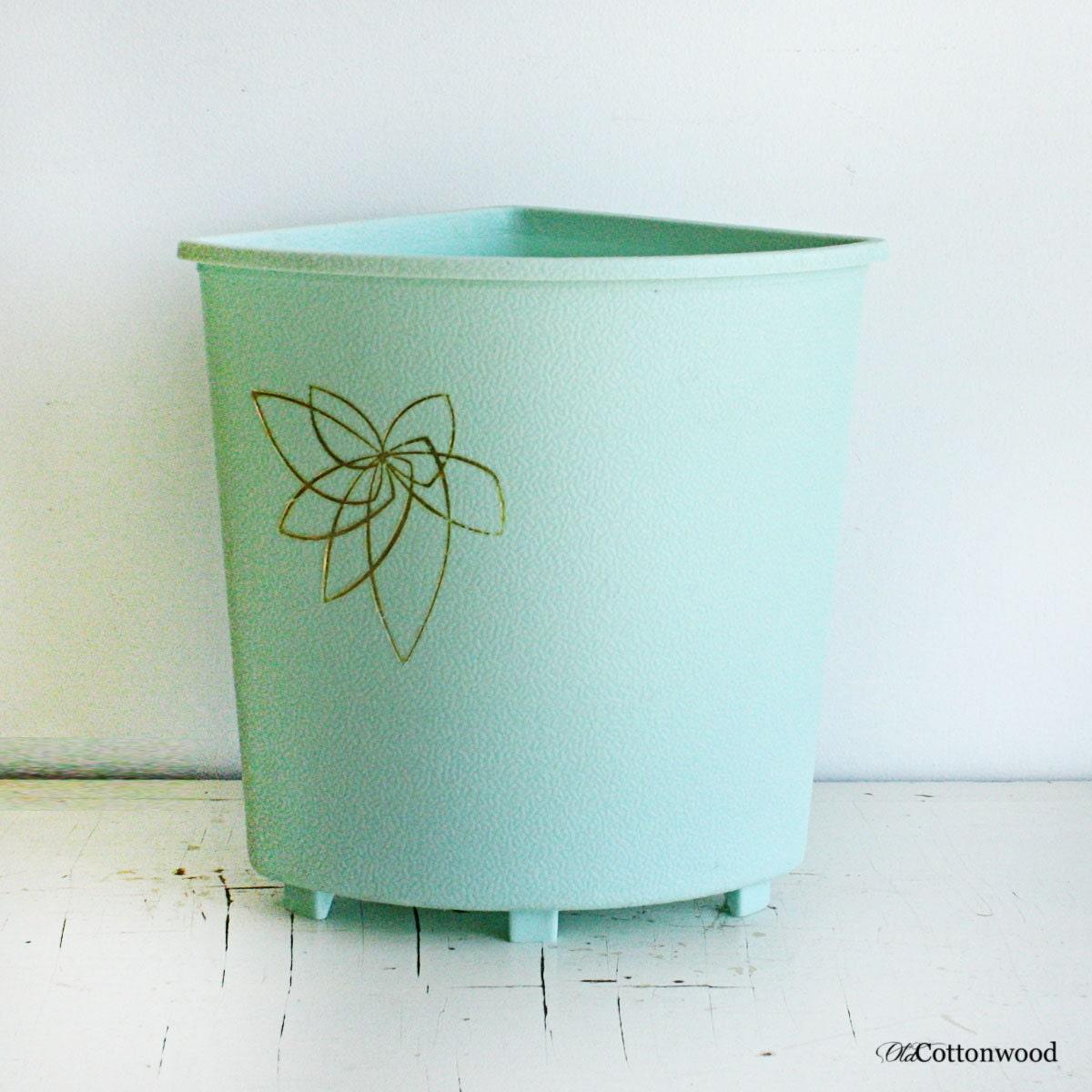 Vintage corner trash can mint light blue bathroom decor for Light blue bathroom accessories