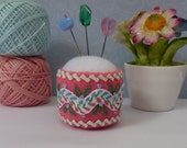 Pink and White Embroidered Rick Rack Bottle Cap Pincushion