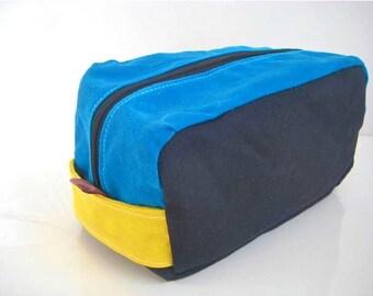 Waxed Canvas Dopp Kit Zipper Leather tags