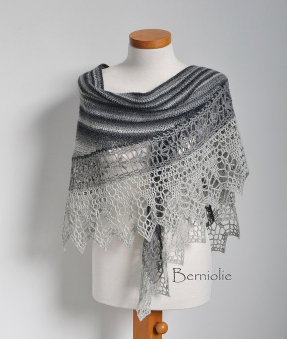 Crochet shawl scarf lace shades of grey merino wool by Berniolie