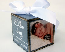 Baby's First Christmas Ornament, Personalized Photo Block Ornament Keepsake, Photo Ornament