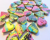 Black and Neon Mokume Gane Psychedelic Dots Handmade Polymer Clay Heart Beads