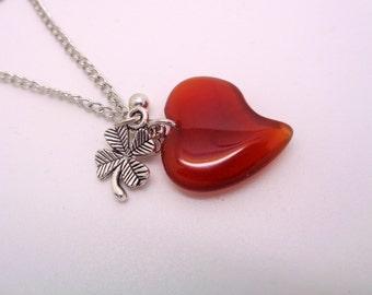 Heart Necklace, Carnelian Necklace