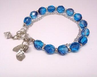 Stacking Bracelet, Blue Bracelet, Friendship Bracelet, Bridesmaid Gift, Charm Bracelet