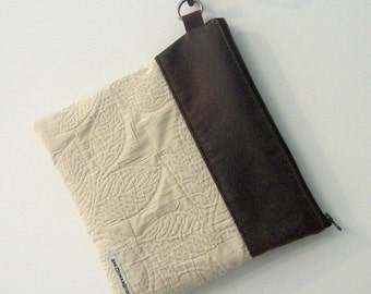 SALE! Vegan Leather and Fabric Fold-Over Clutch, Evening Bag, Zipper Purse, iPad Bag