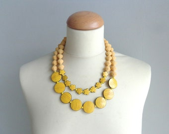 bridal jewelry,chunky yellow black flower necklace
